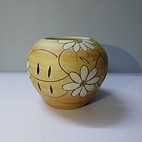 Lọ gốm họa tiết hoa trắng kiểu 1