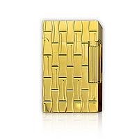 Hộp Quẹt Bật Lửa Gas Đá D52V Thiết Kế Sang Trọng, Tinh Tế Với Họa Tiết Hoa Văn Kẻ Đốt Trúc Màu Vàng