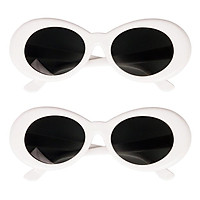 2x Retro Style Clout Goggles Glasses Oval Bold Mod Thick Framed Sunglasses