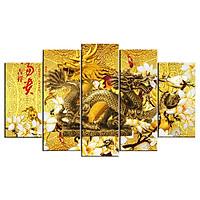 Bộ 5 tấm tranh treo tường Rồng T3M-N3D-24  /Gỗ nhập khẩu Hàn Quốc-Bo viền,chống lóa,ẩm mốc,mối mọt