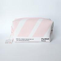 Túi đựng đồ trang điểm mỹ phẩm hình chữ nhật Miniso Striped Square Cosmetic Bag (kẻ trắng hồng), thiết kế Nhật Bản, hàng chính hãng – MNS048