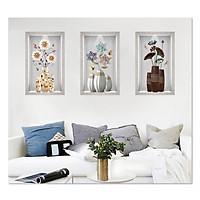 Decal dán tường bộ 3 ô tường lọ hoa đẹp Bo3BinhHienDai_001