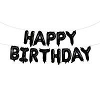 Bong bóng chữ Happy Birthday màu đen