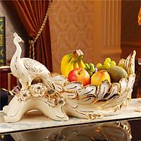 Đĩa đựng hoa quả khổng tước sang trọng chất liệu sứ cao cấp được vẽ chỉ vàng cầu kỳ dùng trong gia đình nhà hàng khách sạn