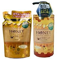 Combo 1 Chai + 1 Túi Sữa Tắm Trắng Da Dưỡng Ẩm Mềm Mịn Mật Ong Nhật Bản HONEY OIL 500ML