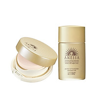 Bộ sản phẩm Anessa kem nền trang điểm tông tự nhiên và Kem chống nắng dưỡng da dạng sữa bảo vệ hoàn hảo 20ml