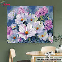 Tranh tô màu theo số hoa Cúc và Cẩm Tú Cầu GAM HL4379