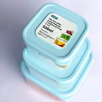 Bộ 3 Hộp Nhựa Đựng Thực Phẩm, Thức Ăn Hokkaido Vuông - Tiêu Chuẩn Nhật - Hàng Chính Hãng