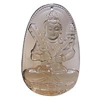 Mặt dây chuyền Hư Không Tạng Bồ Tát Thạch anh khói - Phật Bản Mệnh cho người tuổi Sửu, Dần size lớn VietGemstones