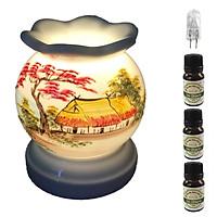Đèn xông tinh dầu MNB12 và 3 tinh dầu sả chanh Eco 10ml và 1 bóng đèn