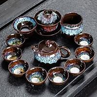 Bộ ấm chén pha trà men hỏa biến 12 món