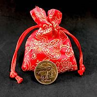 Xu con trâu ở nepal, tặng kèm túi gấm, dùng để xỏ lỗ đeo dây, trưng bày trên bàn sách, bàn làm việc, đem lại may mắn cho năm Tân Sửu 2021 - TMT Collection - SP005080