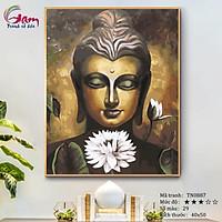 Tranh tô màu theo số Phật giáo Đức Phật và hoa sen trắng mã TN0887