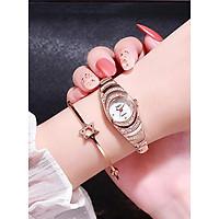 Set đồng hồ nữ mặt tròn đính đá tặng lắc tay
