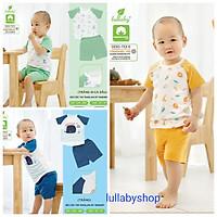 Bộ cộc tay raglan bé trai Lullaby NH626P, bộ quần áo cotton mềm mịn cao cấp