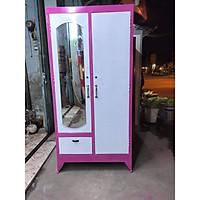 Tủ sắt quần áo cao 1m8 ngang 90cm màu hồng