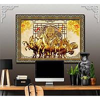 Bức tranh ngựa treo tường bát mã - MÃ ĐÁO THÀNH CÔNG chất liệu in vải lụa hoặc giấy ảnh bóng gương Mã số:L8F-00401395L8