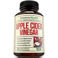 Thực phẩm chức năng bổ sung Giấm táo Vimerson Health. Hỗ trợ làm sạch thải độc tự nhiên, nâng cao. Thúc đẩy tiêu hóa, tim mạch và sức khỏe miễn dịch. Giúp cân bằng lượng đường trong máu. 60 Viên nang ăn chay ACV. Không biến đổi gen và không chứa Gluten