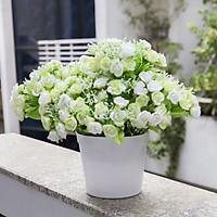 Chậu hoa hồng vải lụa xanh lá MỀM MỊN ĐỂ BÀN SIÊU ĐẸP