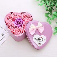 Quà valentine - Hộp quà 7 hoa hồng sáp thơm trái tim