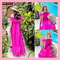 Đầm maxi đi biển hồng sen trễ vai tơ tiểu thư dáng vintage trẻ trung siêu xinh, Váy kiểu nữ quảng châu phối đuôi cá dáng dài hở vai chất tơ mềm đẹp mát