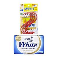 Combo Set 4 Móc Treo Chịu Lực Chữ S (10Cm) + Xà bông Kao White - Nội Địa Nhật Bản