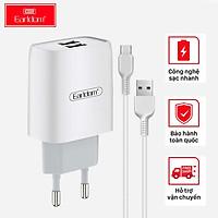 Bộ sạc nhanh Earldom ES - 196 hỗ trợ 2 cổng USB, kèm dây sạc,sạc nhanh tiện lợi, dùng cho iphone ,samsung,oppo - hàng chính hãng