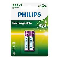 Pin sạc Philips NIMH AAA 950mAh R03B2A95 (2 viên AAA)