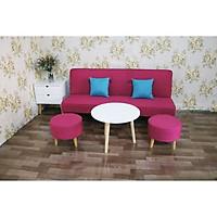 bộ sofa bed phòng khách phiên bản ghế đôn tròn MH05