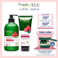 Bộ đôi gội xả Fresh Organic Chăm sóc tóc nhuộm chiết xuất Quả mâm xôi hữu cơ 500g + 180g