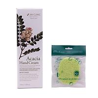 Kem dưỡng da tay thảo mộc Hàn Quốc cao cấp 3W Clinic Acacia Hand Cream (100ml) + Tặng Bông bọt biển massage mặt Hàn Quốc Mira Culous – Hàng Chính hãng