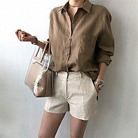 Women Shirt Cotton And Linen Lapel Long-sleeve Loose Solid Color All-match Shirt