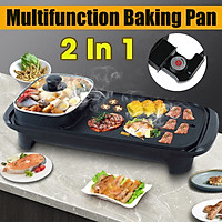 2 In 1 1300W Multifunction Electric Hot Pot Non-Stick Barbecue Grill Frying Baking Pan BBQ Griddle for Family Friends Gatherings Party