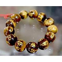 Vòng tay chuỗi đá phong thủy mắt hổ khắc chú Omani vàng
