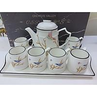 Bộ ấm chén kèm khay sứ pha trà cà phê trắng họa tiết cành cây chim đậu-ANTH-007