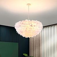 Đèn chùm ERVAI lông vũ cao cấp, hiện đại, sang trọng loại 45cm với 3 chế độ ánh sáng - kèm bóng LED chuyên dụng.
