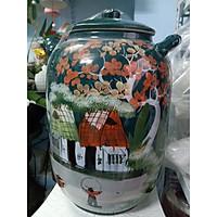 Hũ đựng rượu, gạo màu xanh gốm sứ Bát Tràng loại 30L( 25kg gạo)