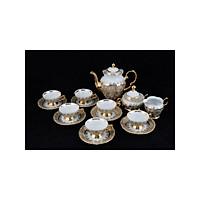 Bộ bình trà sứ Tiệp cao cấp mạ vàng 3-034, vẽ dây vàng, phong cách tân cổ điển sang trọng