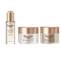 Bộ 3 dưỡng da cho da kém đàn hồi và nếp nhăn sâu Eucerin Hyaluron Filler Elasticity + tặng kem chống nắng ngăn ngừa lão hóa Eucerin