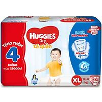 Tã Quần Huggies Dry gói trung XL34 (34 Miếng) - Tặng 4 miếng