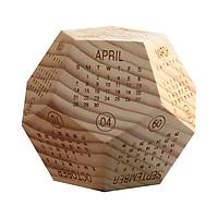 Lịch gỗ lục giác để bàn gỗ thông nguyên khối