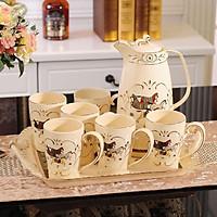 Bộ ấm trà cổ điển 8 chi tiết Ngựa ( gồm khay, tách trà và 6 cốc)