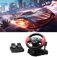 PC Racing Wheel, Simulator Vibration 200 Degree Universal Usb Car Bus Truck Race Steering Wheel with Pedals Set, for PS3, PS2(Red)