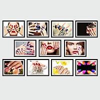 Bộ Khung Ảnh Treo Tường Nail Trang Trí Tiệm Làm Móng, Make Up, Làm Nail Tặng Kèm bộ ảnh như hình mẫu, đinh treo tranh và sơ đồ treo PGC299