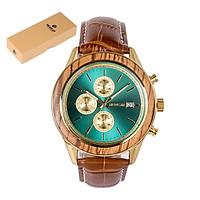REDEAR Men Watch Quartz Movement Alloy & Wood Case Time & Calendar Display Stopwatch Function 30M Waterproof Male