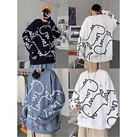 Áo Sweater Form Rộng Nỉ Hoạ Tiết Khủng Long Tay Dài Ulzzang Hot ( Ảnh Thật+ Hàng Sẵn)