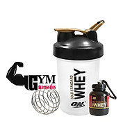 Bộ 2 sản phẩm bình đựng nước shake bottle và hộp đựng sữa bột ishake protein funnel ON Gold