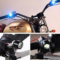 Bộ 2 đèn led trợ sáng cầu lồi mini gắn chân gương xe máy