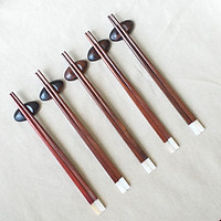 Đũa gỗ Trắc đỏ vuông 23,5cm - Đầu gắn xà cừ ( 5 đôi /Túi) - Đũa gỗ tự nhiên (D19)