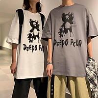 3 Color【M-5XL】Fashion Short Sleeve T-shirt Men Printed Bear Pattern Student Couple Short T-shirt Unisex T-shirt Summer New Style Oversize Couple Wear